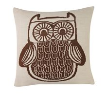 Wise owl knitted cushion