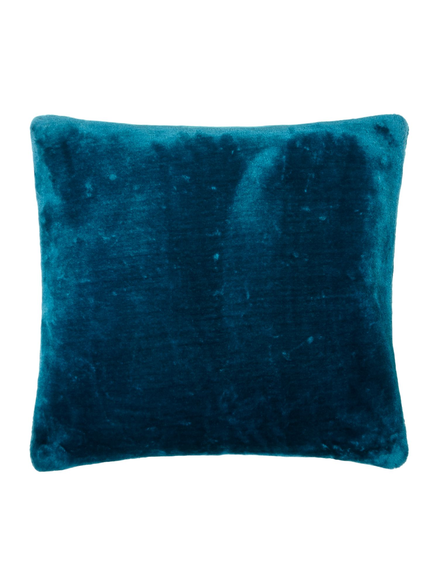 Teal faux fur cushion