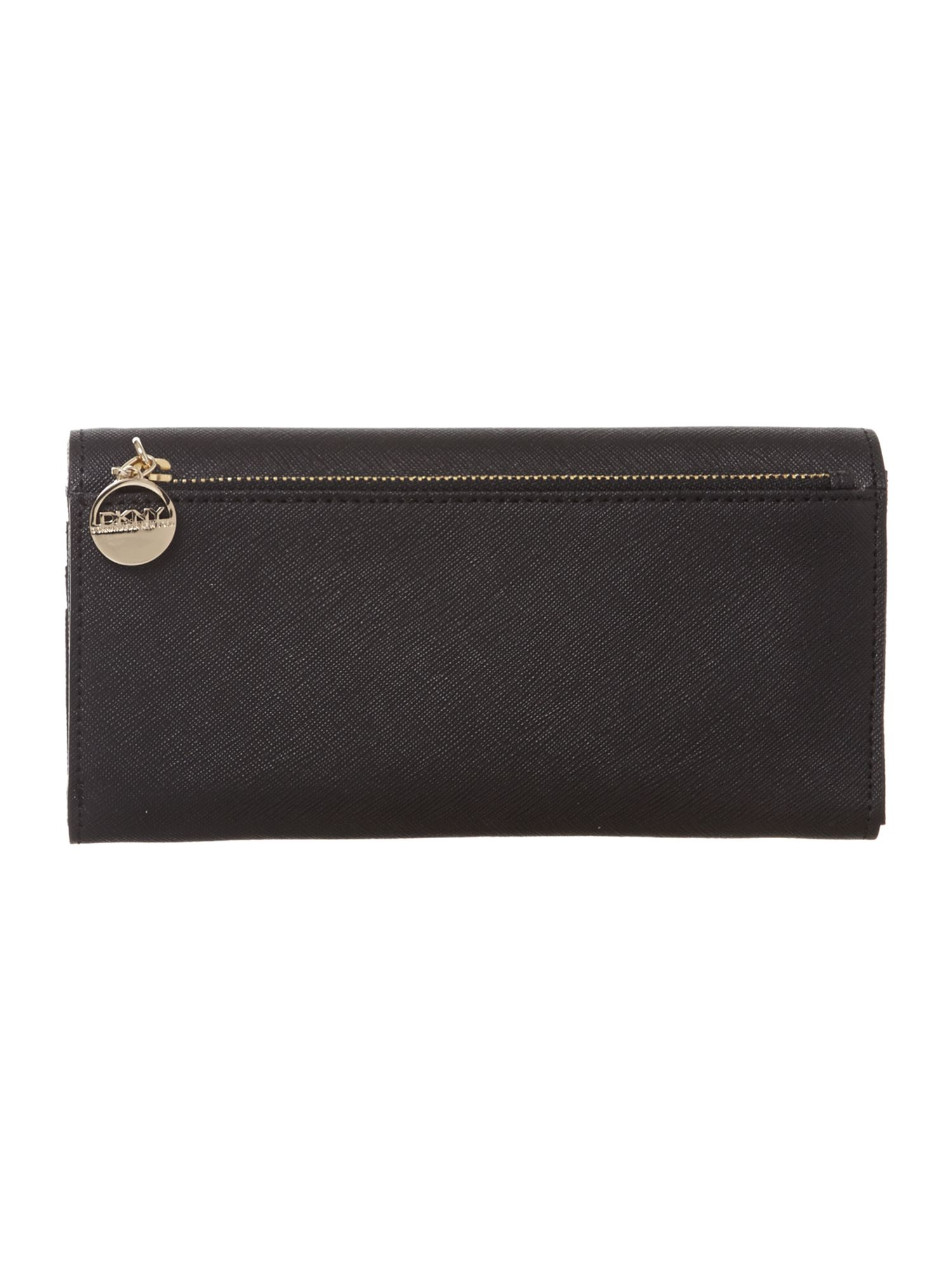 Saffiano black large flap over purse