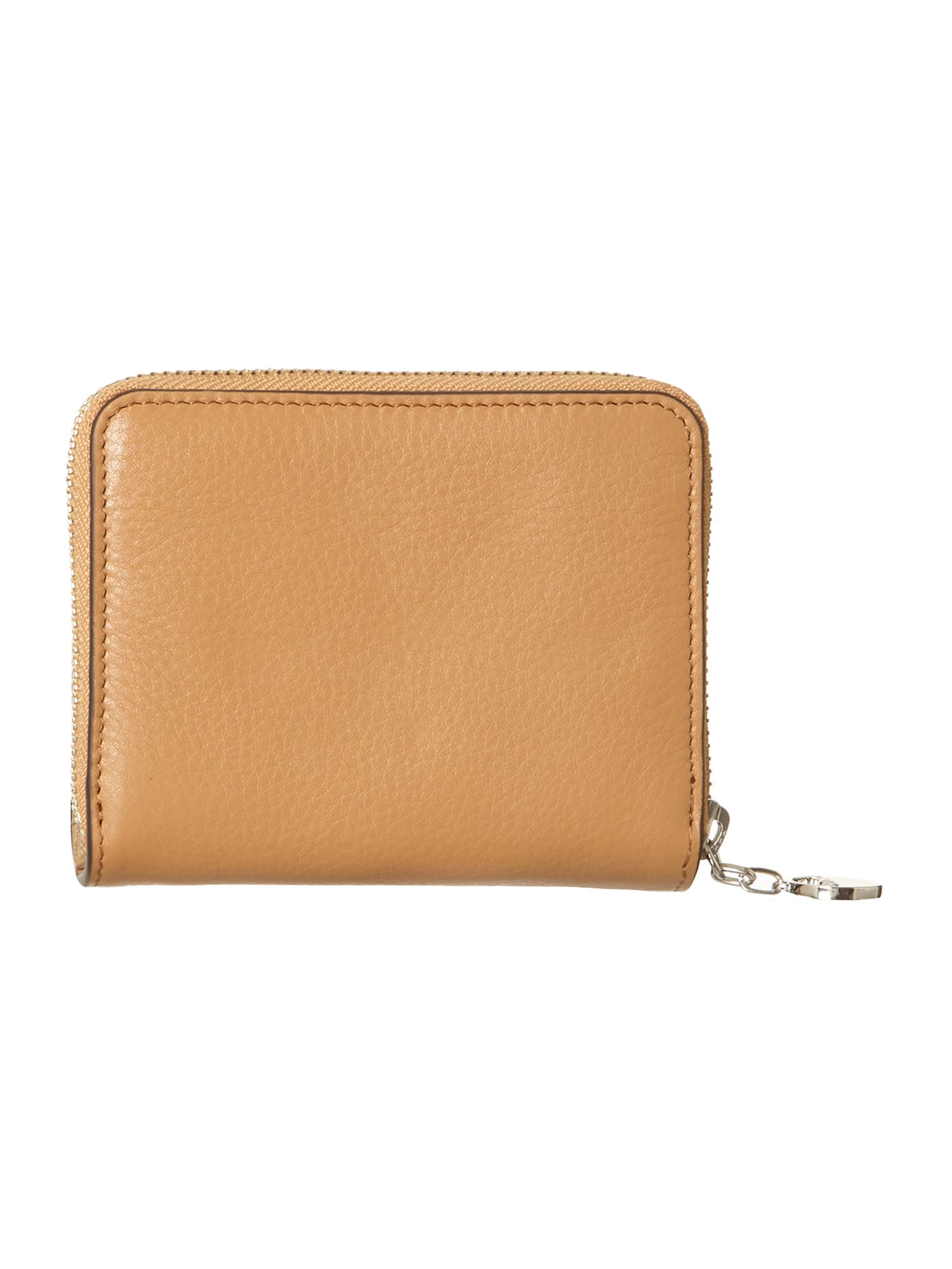 Tan small zip around purse