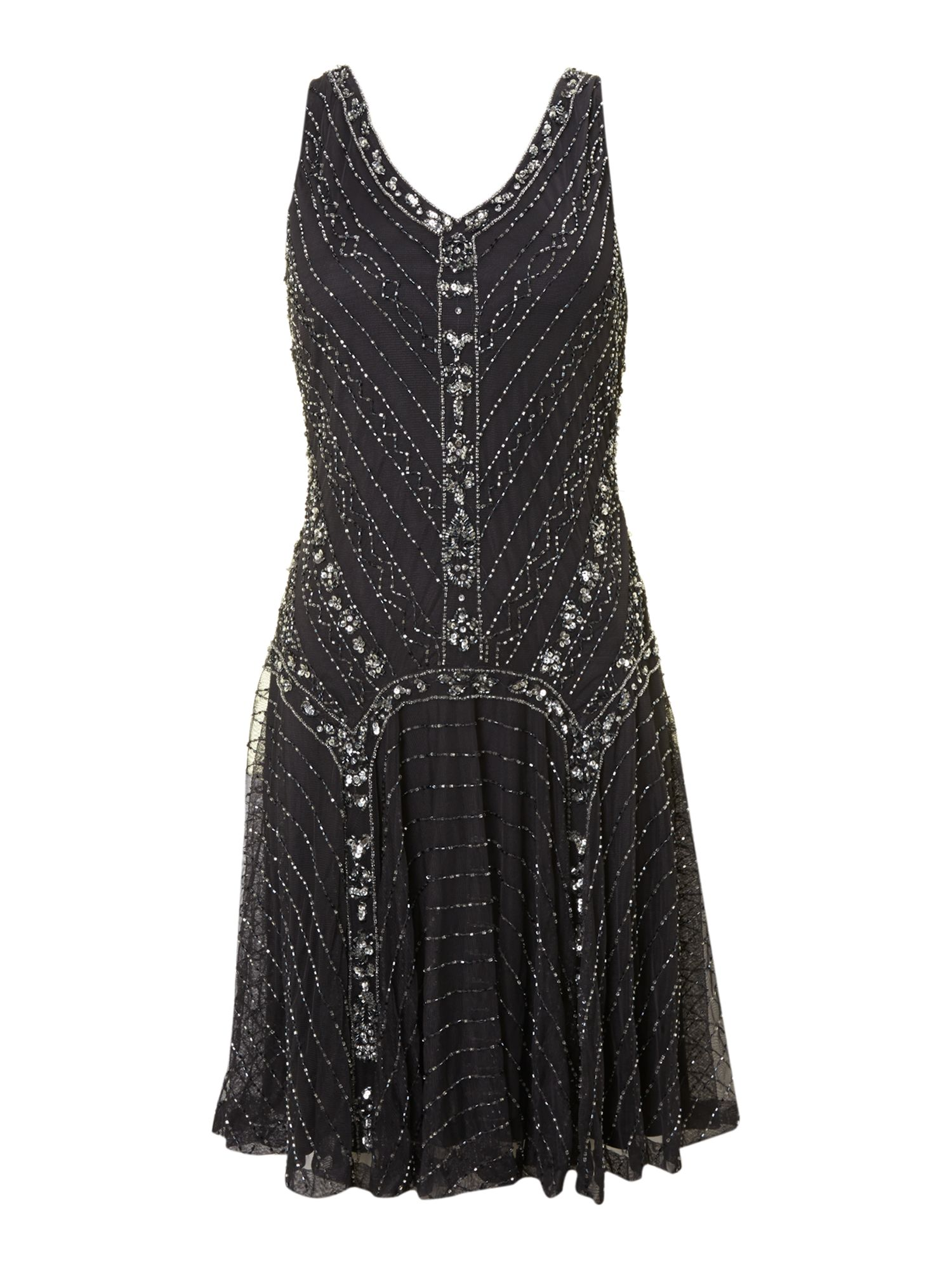Shubette Short Beaded Flapper Dress, Pewter