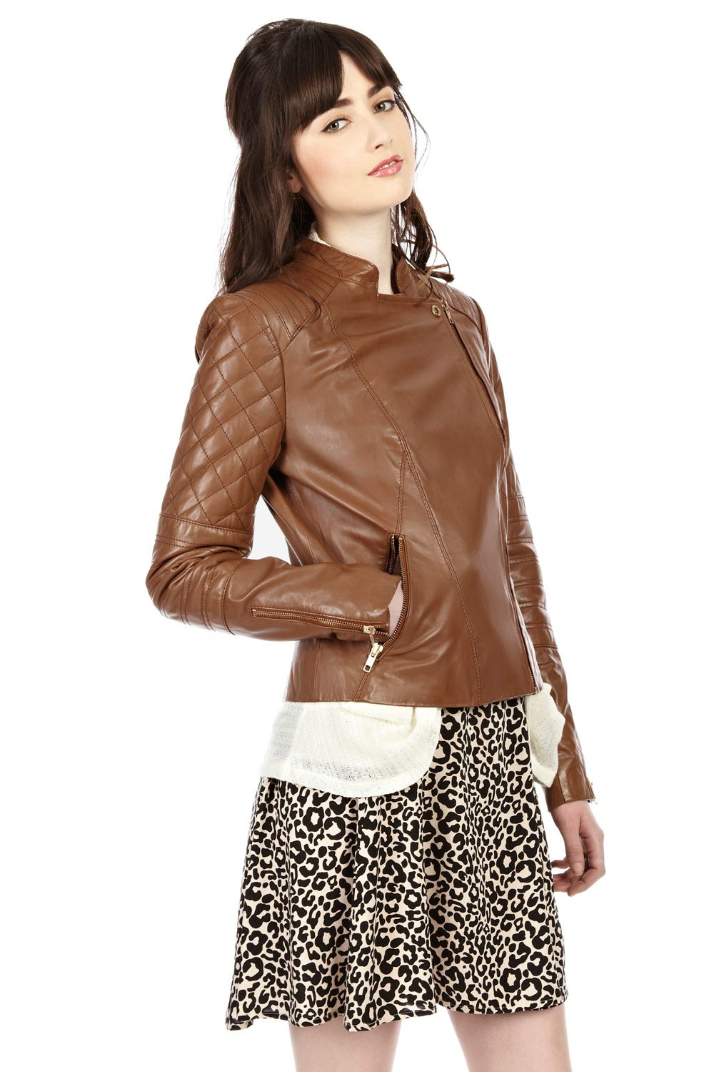 Collarless quilted leather biker jacket