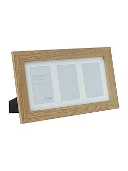 Pale wood 3 aperture photo frame