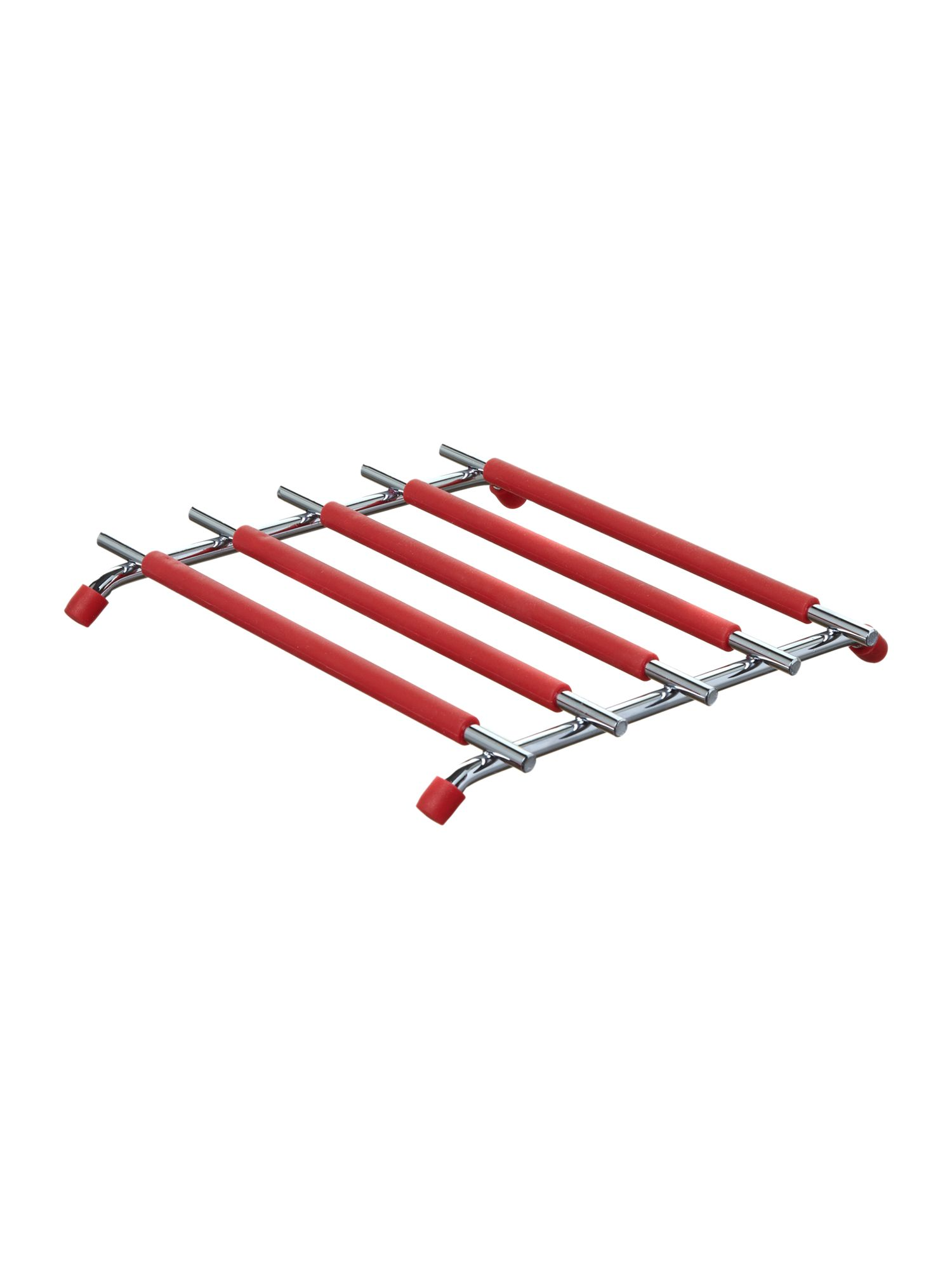 Metal and silicone trivet, red