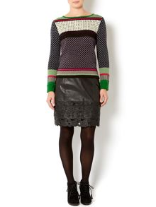 Ladies intarsia pattern jumper
