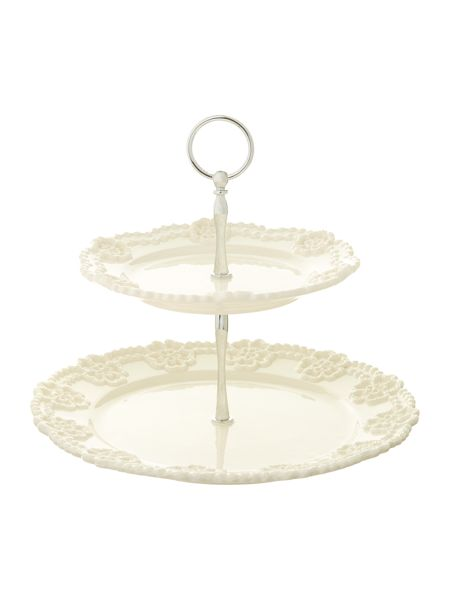 Shabby Chic Lace 2-tiered cake stand