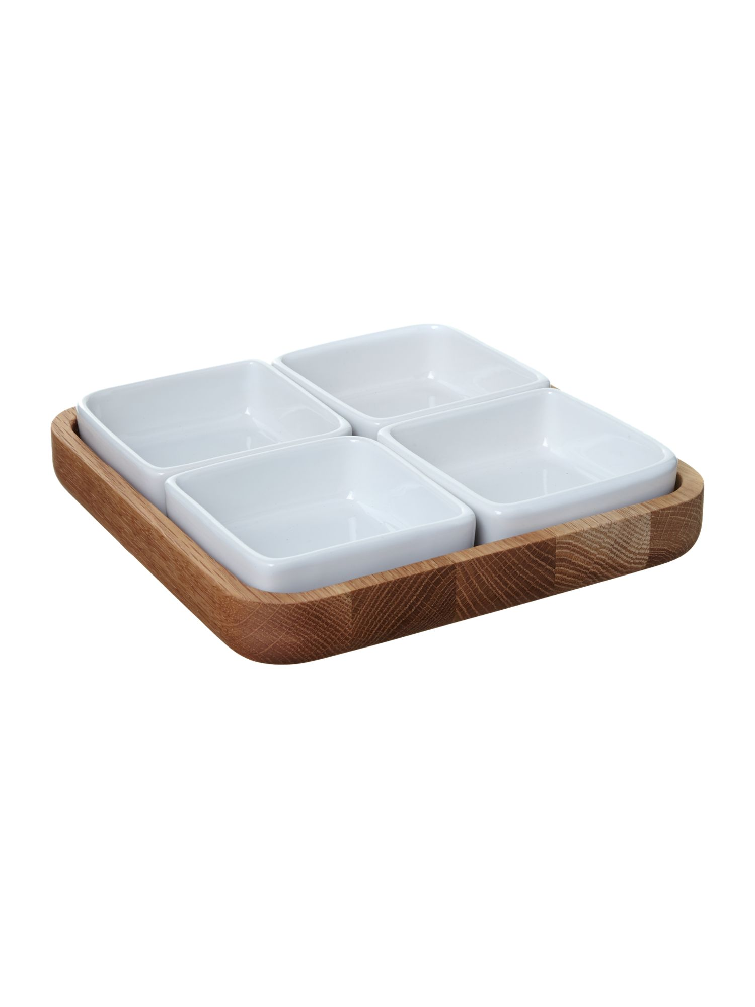 Oak serve tray with 4 dipping bowls