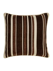 Stripe chenille cushion, chocolate
