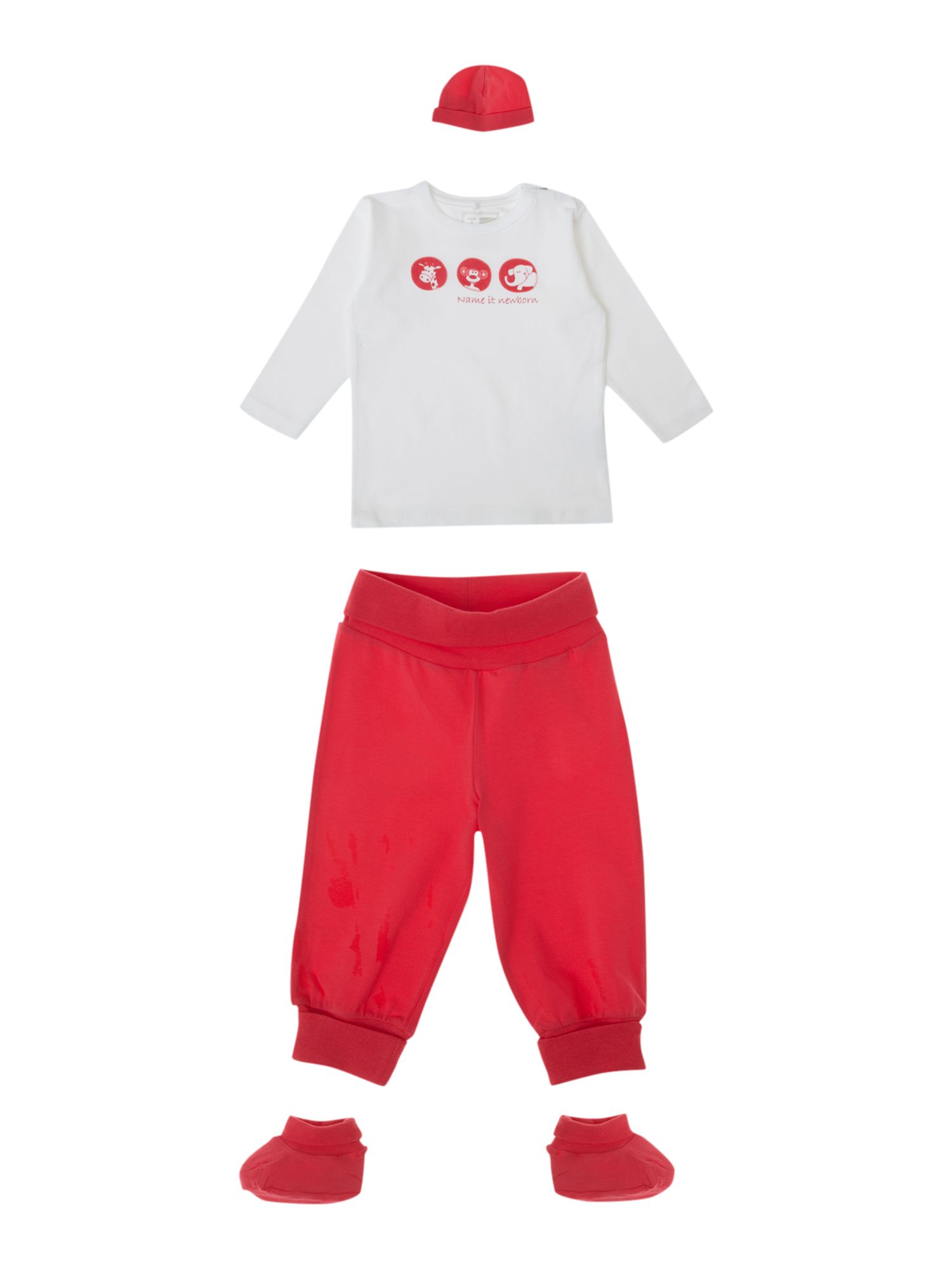 Baby`s T-shirt, joggers, hat & booties gift set