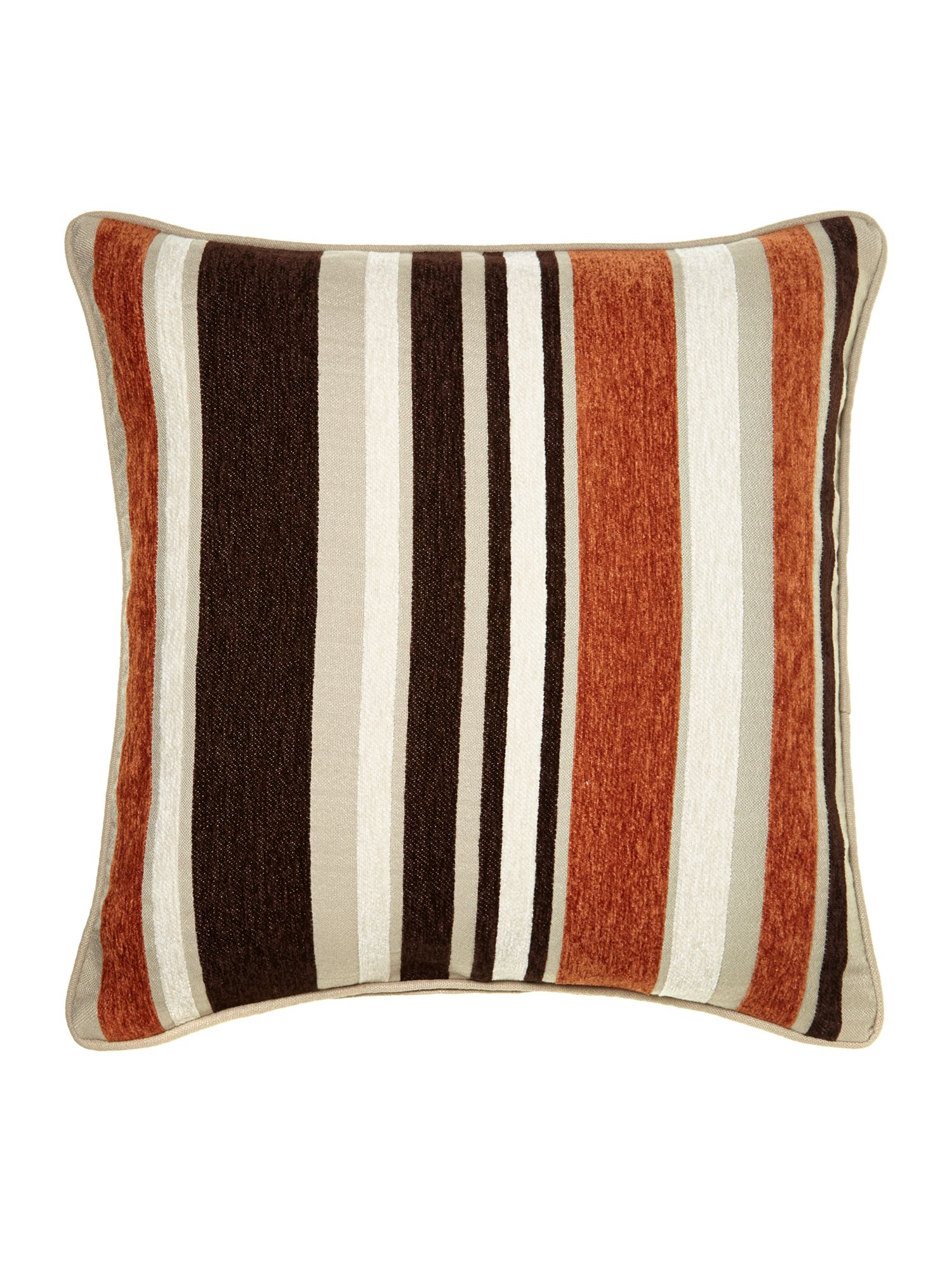 Rust stripe chenille cushion
