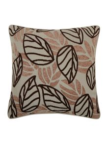 Chocolate leaf design chenille cushion