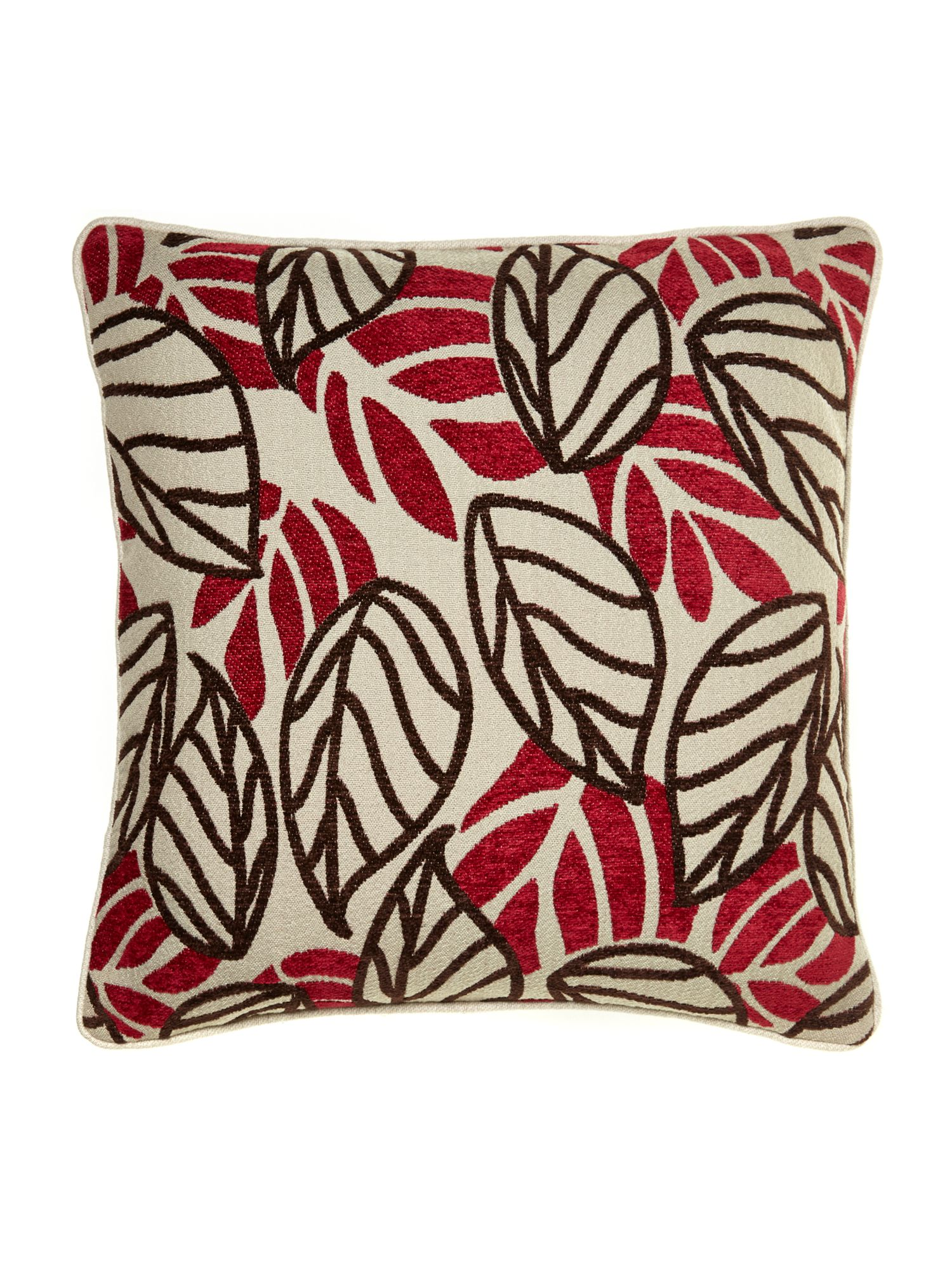 Red leaf design chenille cushion