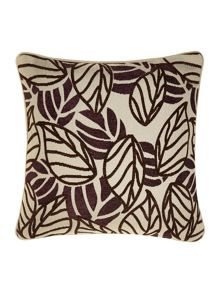 Purple leaf design chenille cushion