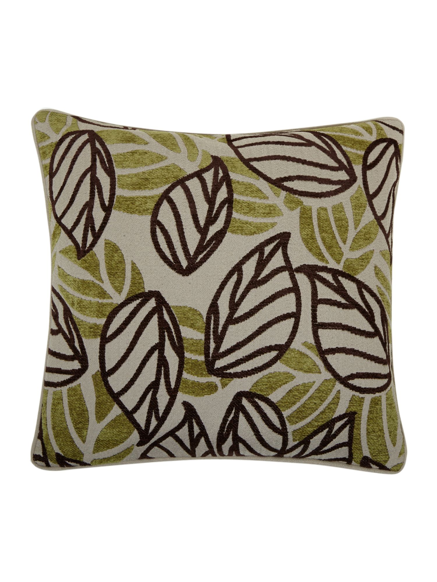 Green leaf design chenille cushion
