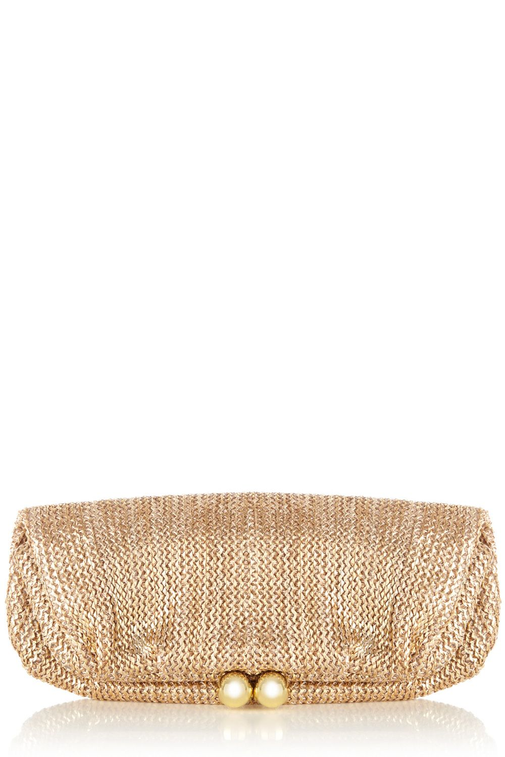 Metallic foldover bobble clutch bag