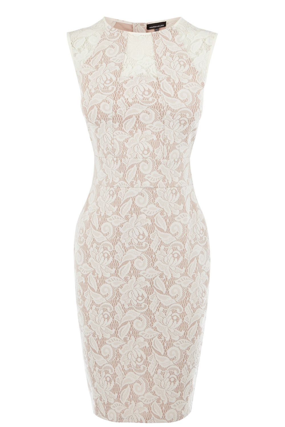 Panelled bonded lace dress