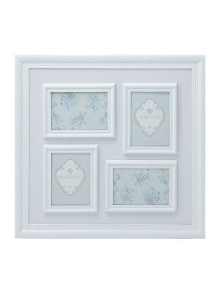 Shabby Chic White 4 aperature square photo frame