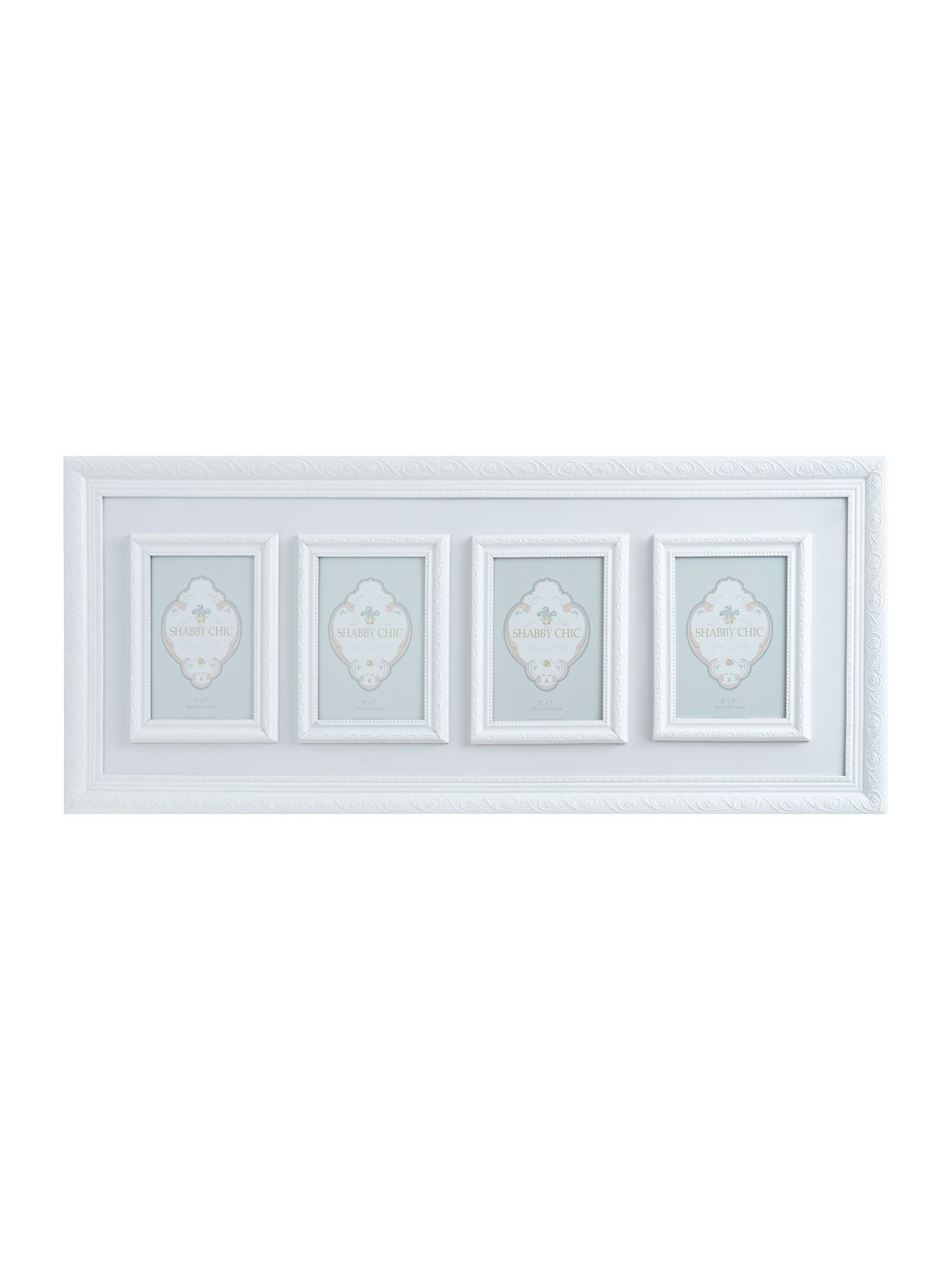 White 4 aperature tall photo frame