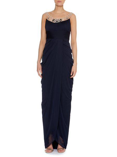 Adrianna Papell Embelished neck full length gown