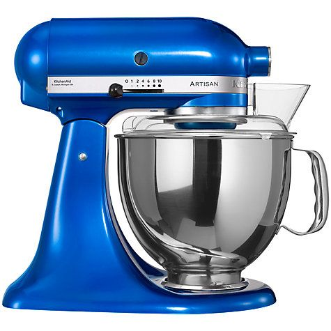 Electric blue artisan stand mixer metal bowl