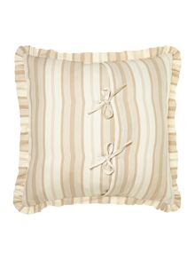 Taupe ticking stripe cushion
