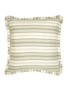 Green ticking stripe cushion