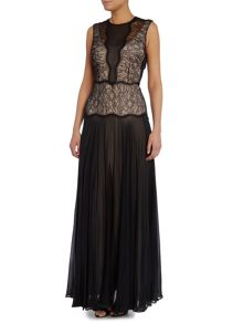 Paul Smith Black Label Sleeveless lace silk maxi dress