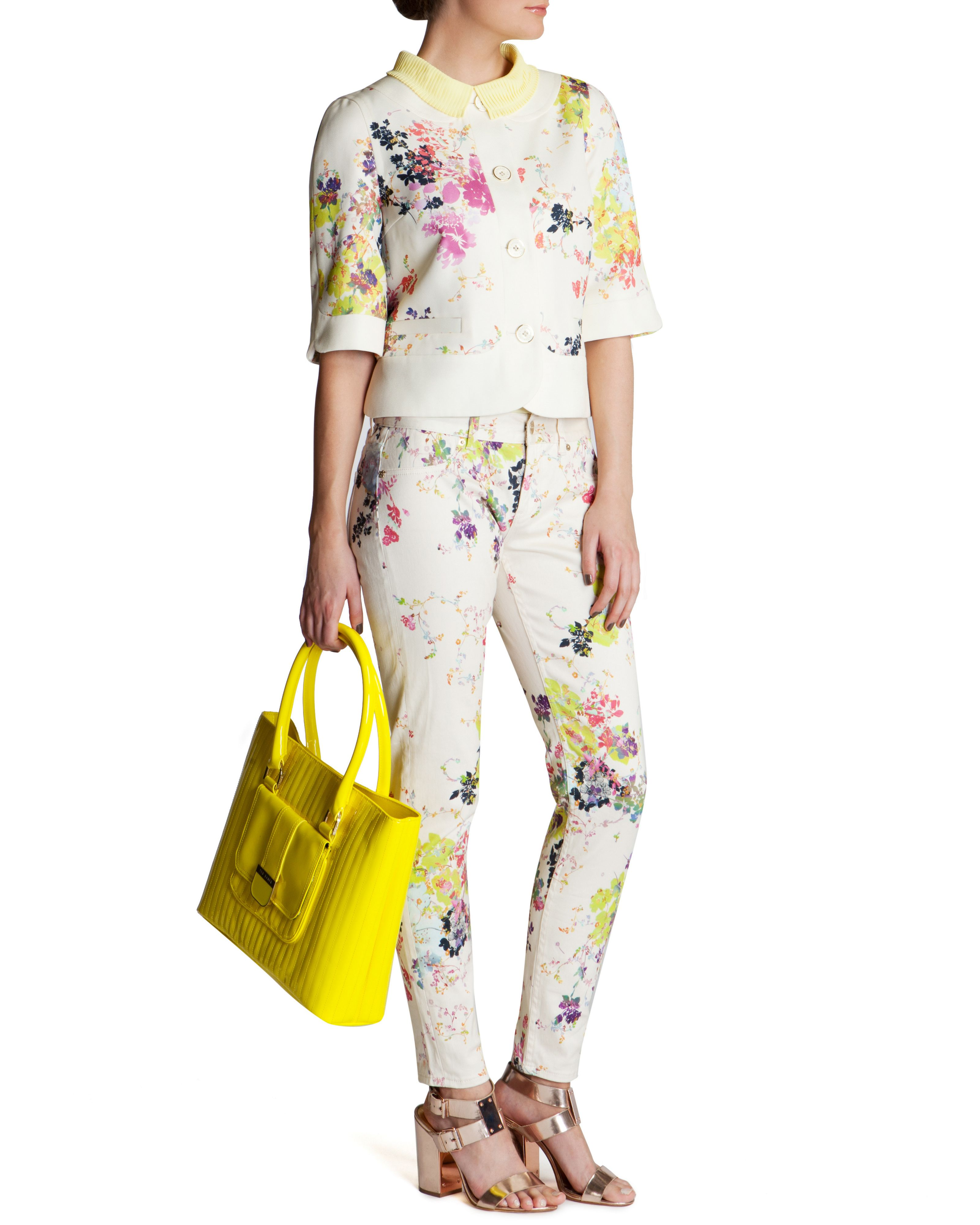 Eleano summer bllom printed jean