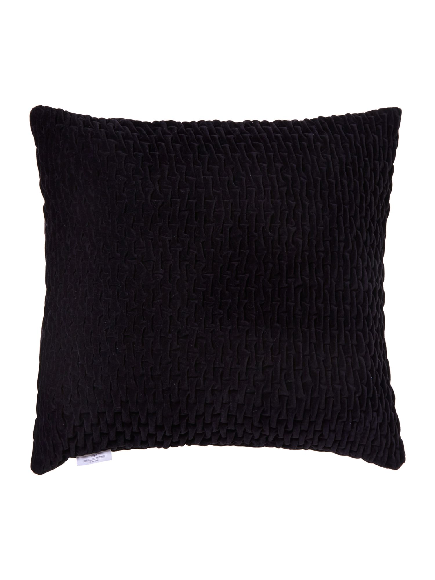 Black smocked velvet cushion