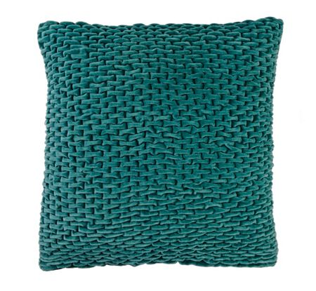 Pied a Terre Teal smocked velvet cushion