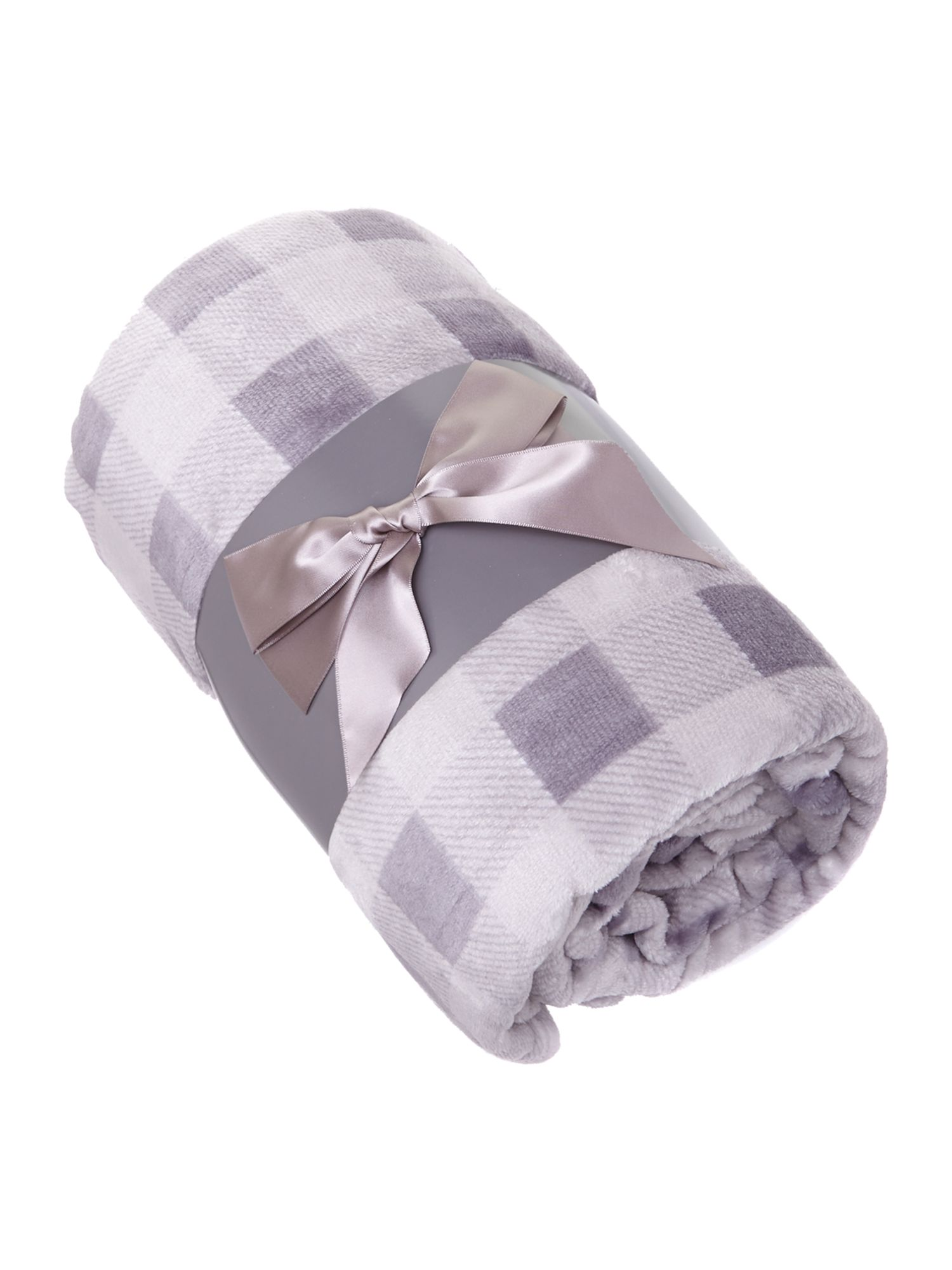 Printed check throw beige
