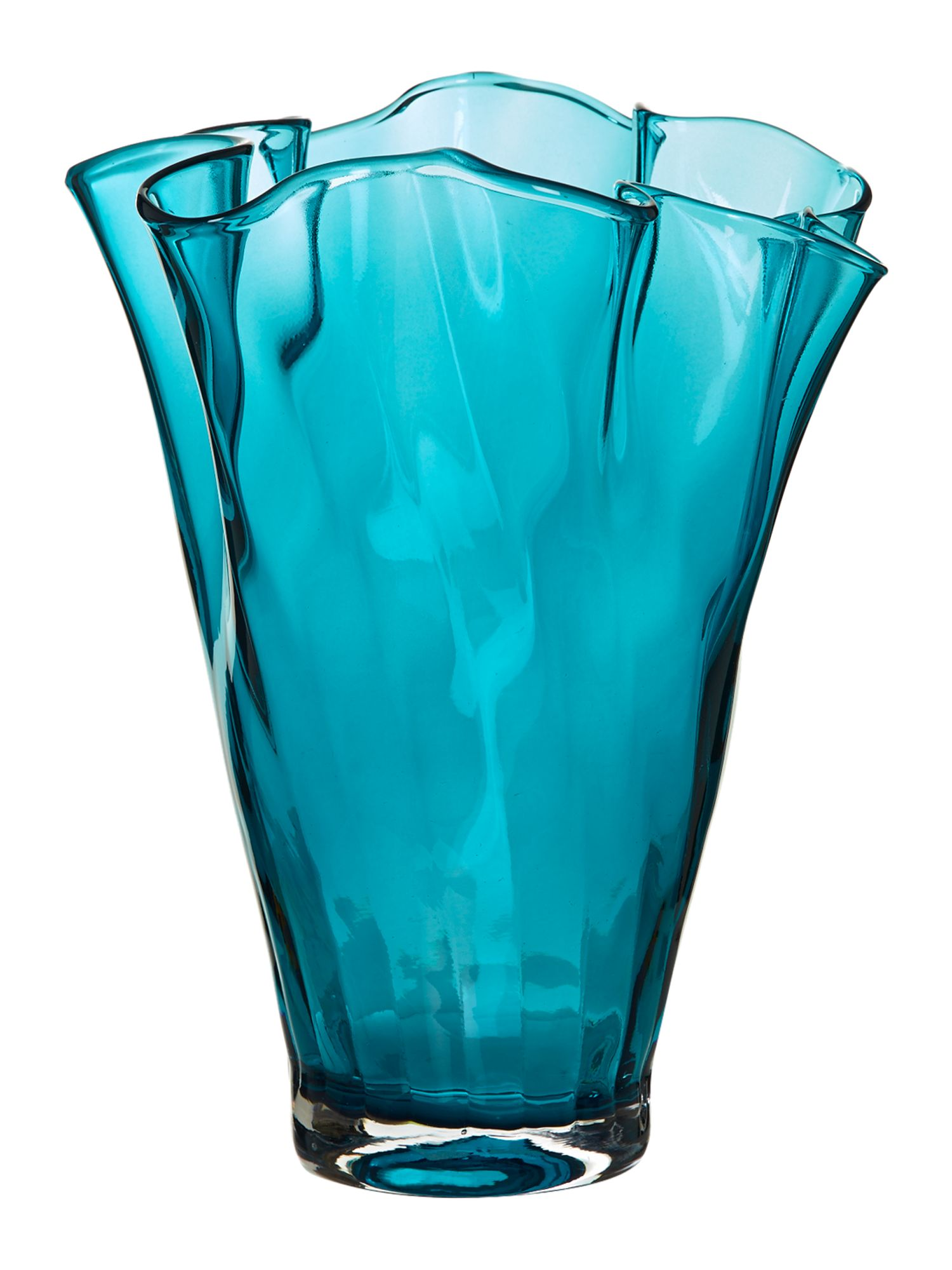 Optic handkerchief vase, teal