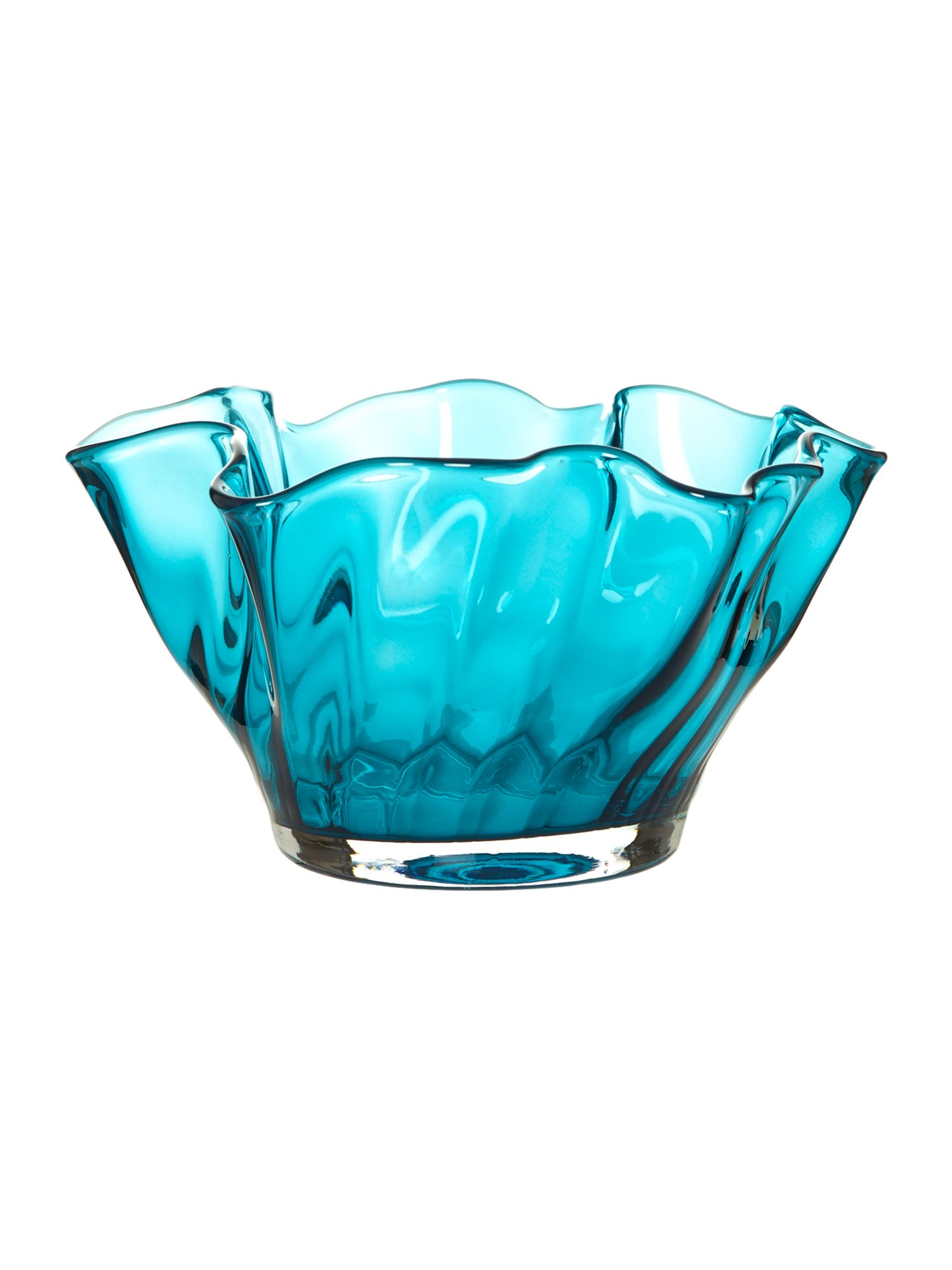 Optic handkerchief bowl, teal