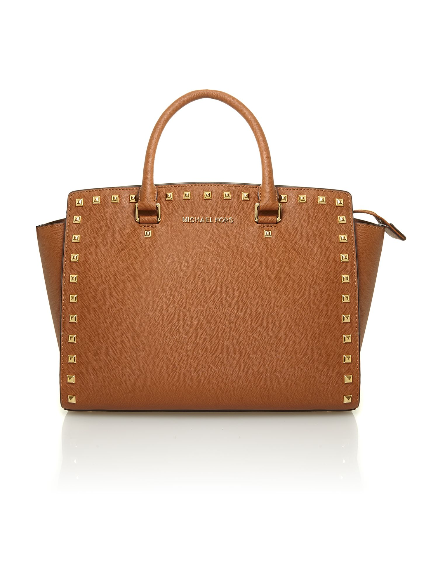 Selma stud brown tote bag