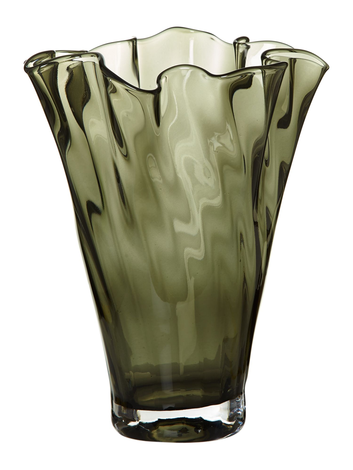 Optic handkerchief vase, smoke