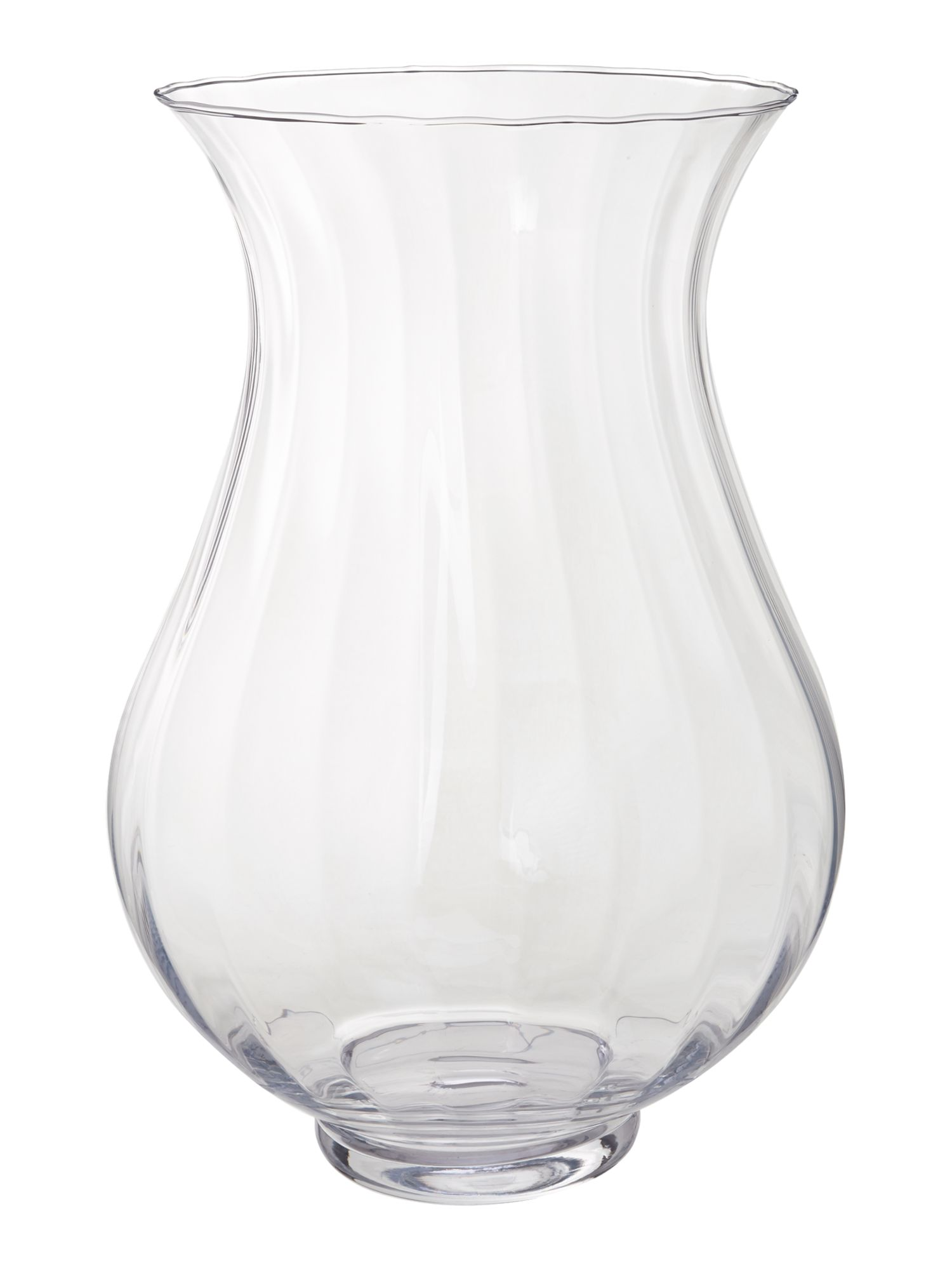 Clear ribbed optic vase