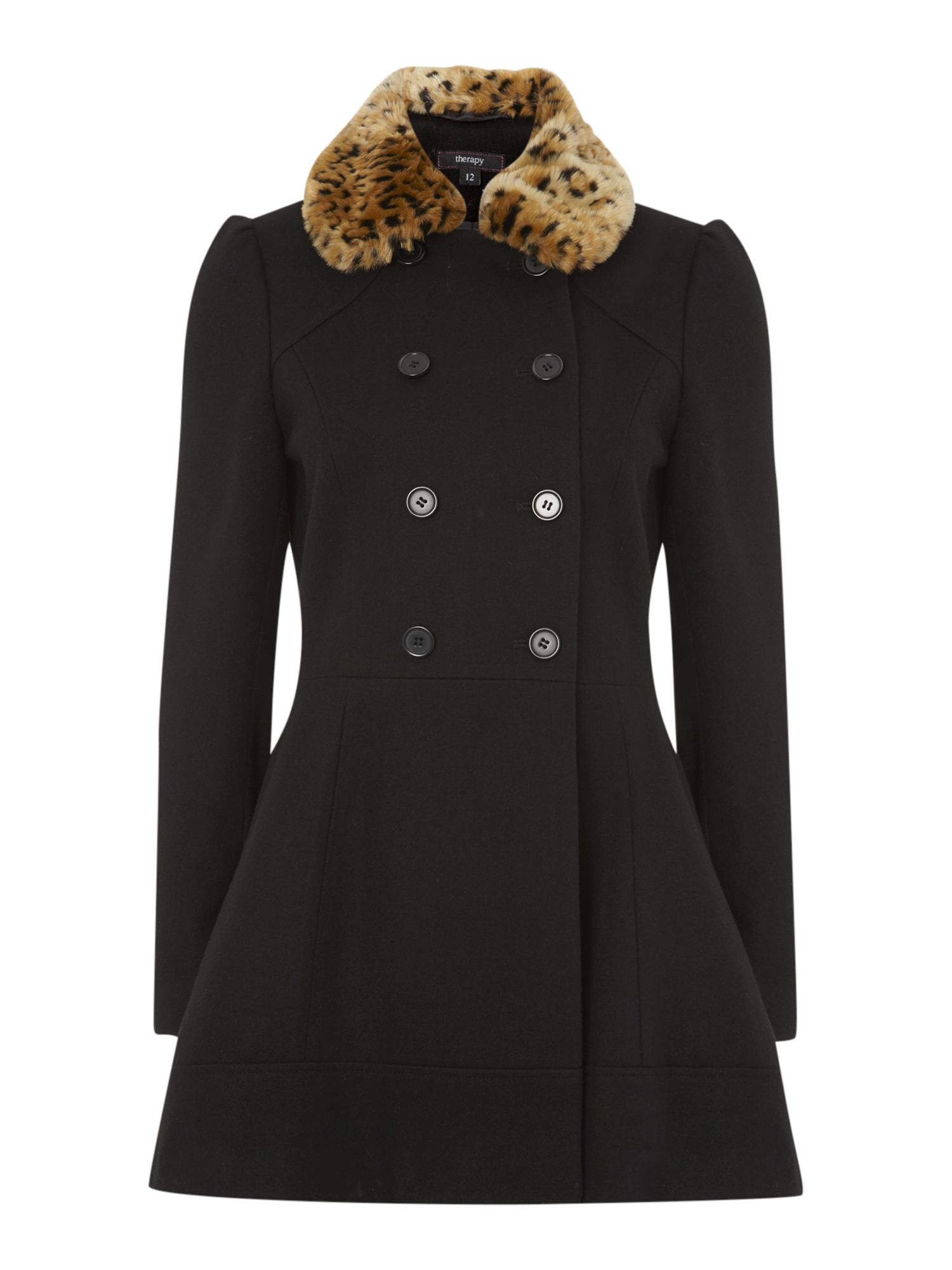 Leopard fur collar fit and flare coat