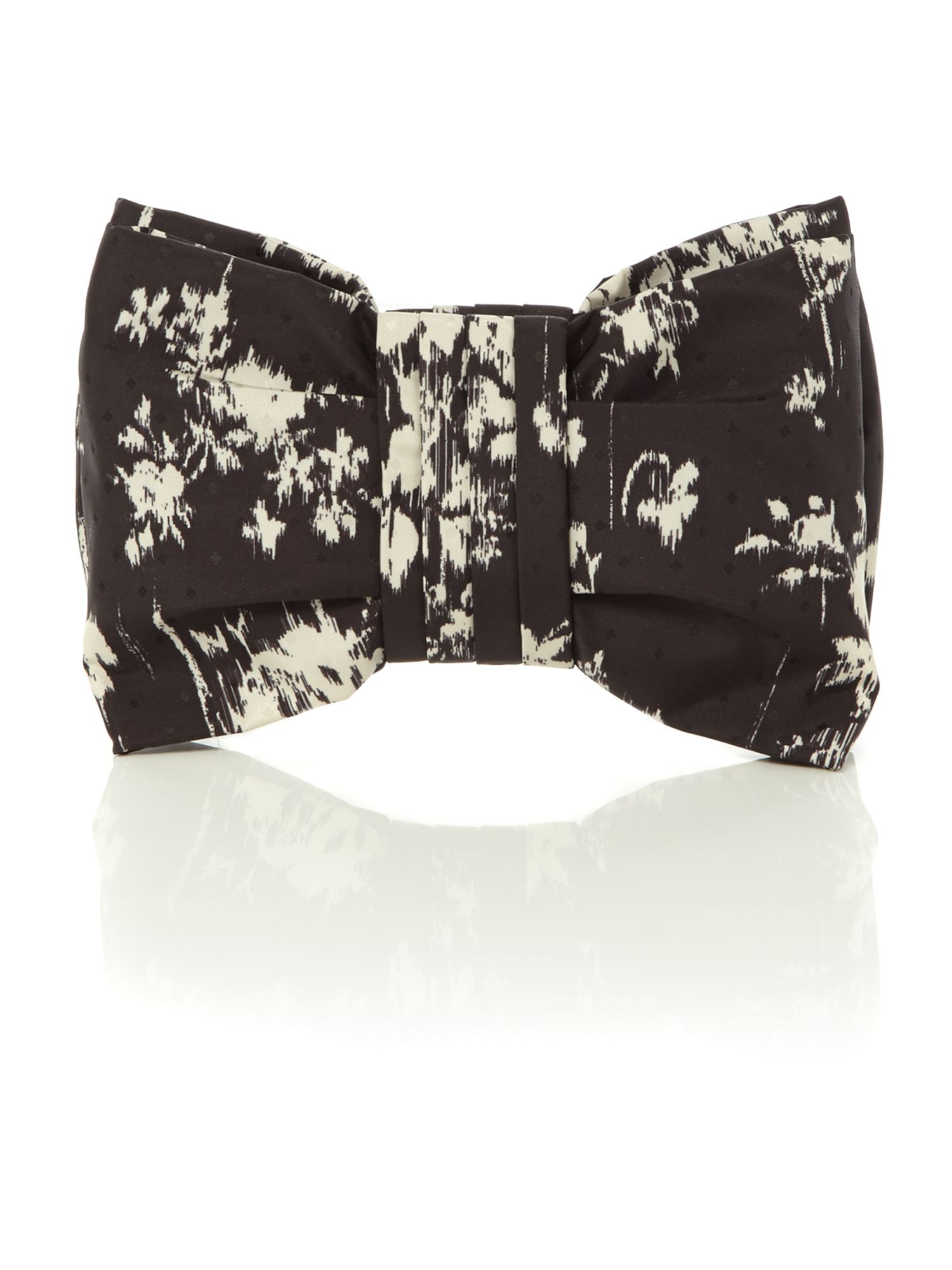 Monochrome printed bow clutch bag