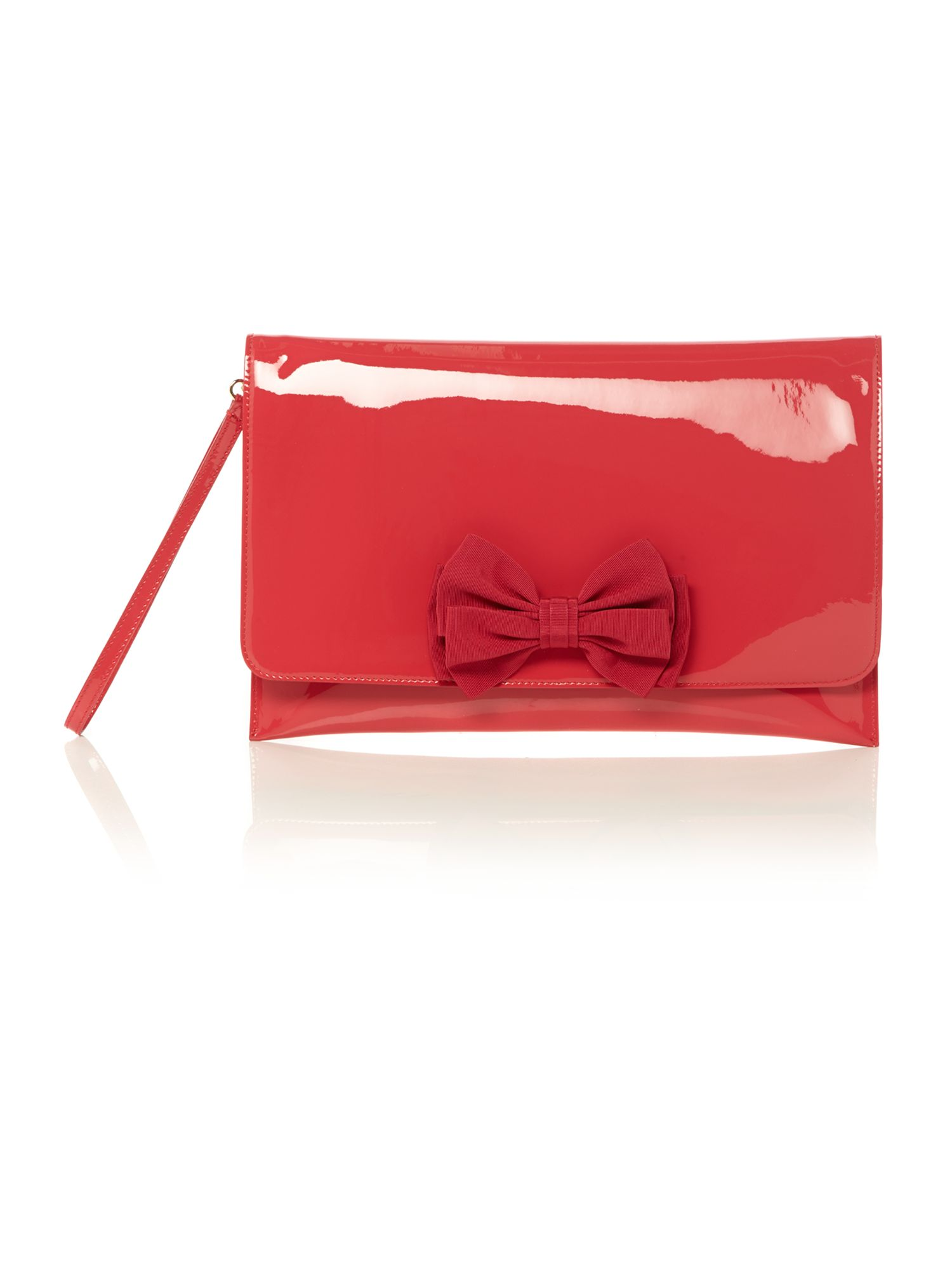 Pink patent bow clutch bag