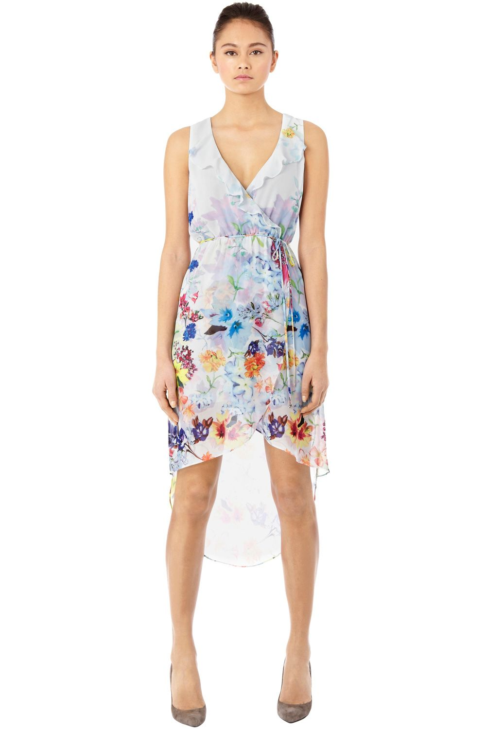 Bright floral wrap dress