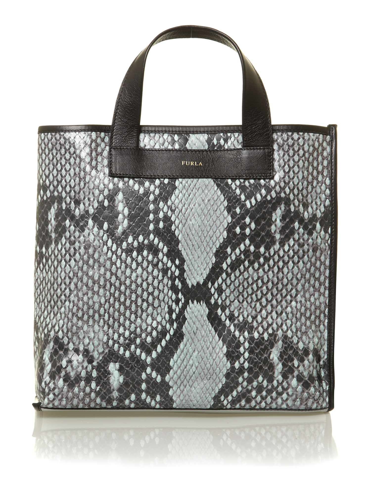 Divide it blue snake large tote bag