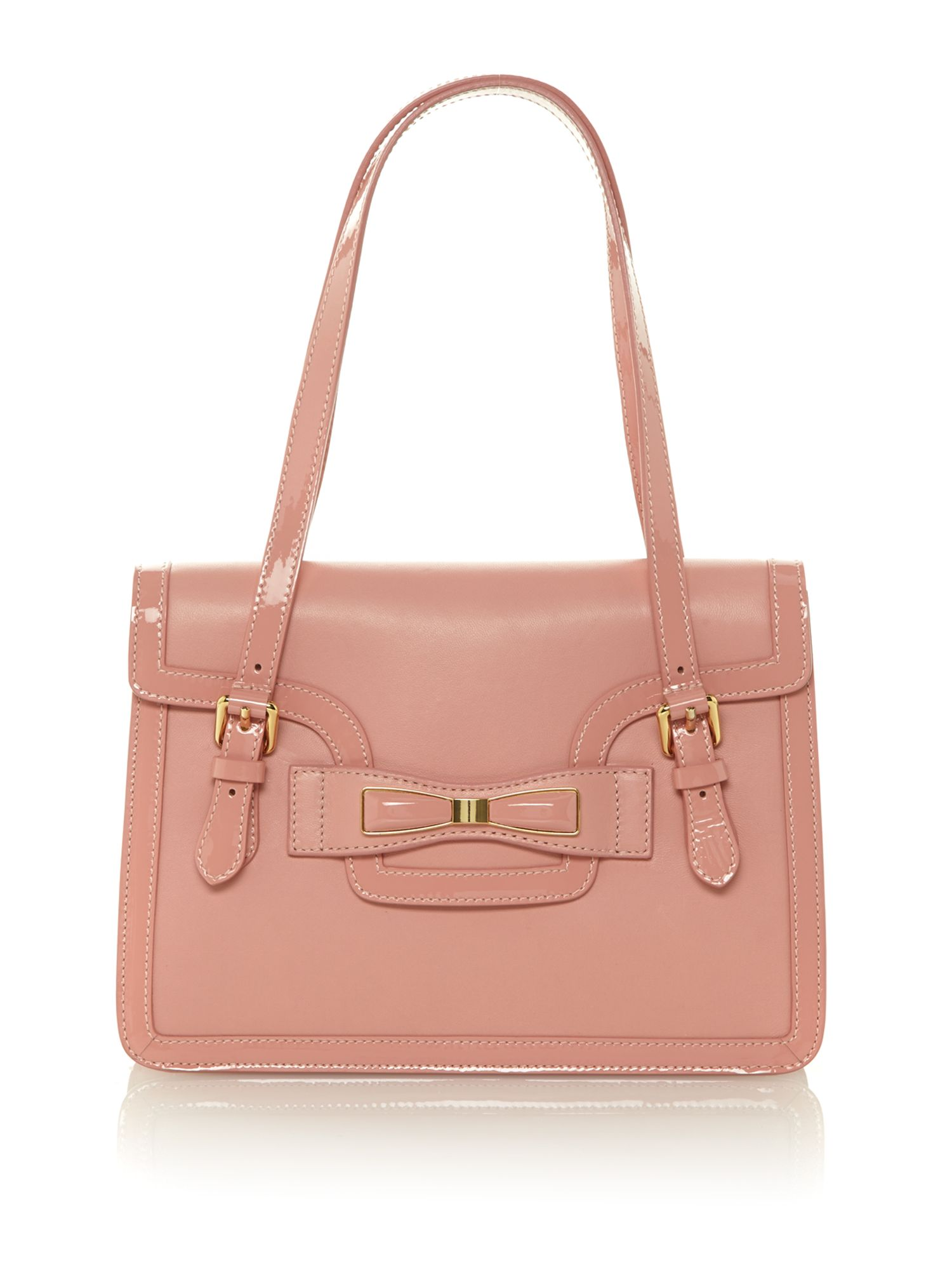 Pink bow medium flapover shoulder bag