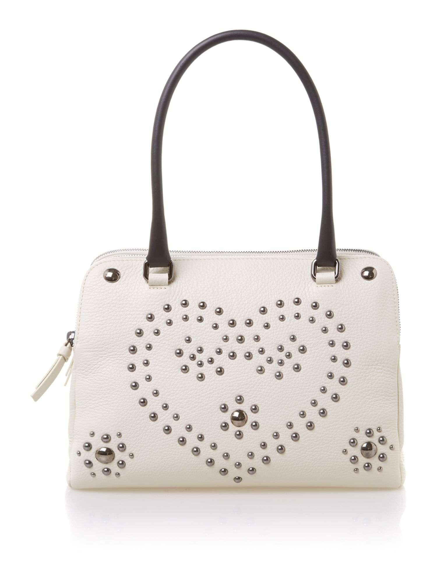 Cream studded heart tote bag