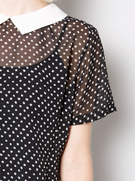 Therapy Collar spot woven blouse