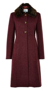 British kensington wool faux fur coat