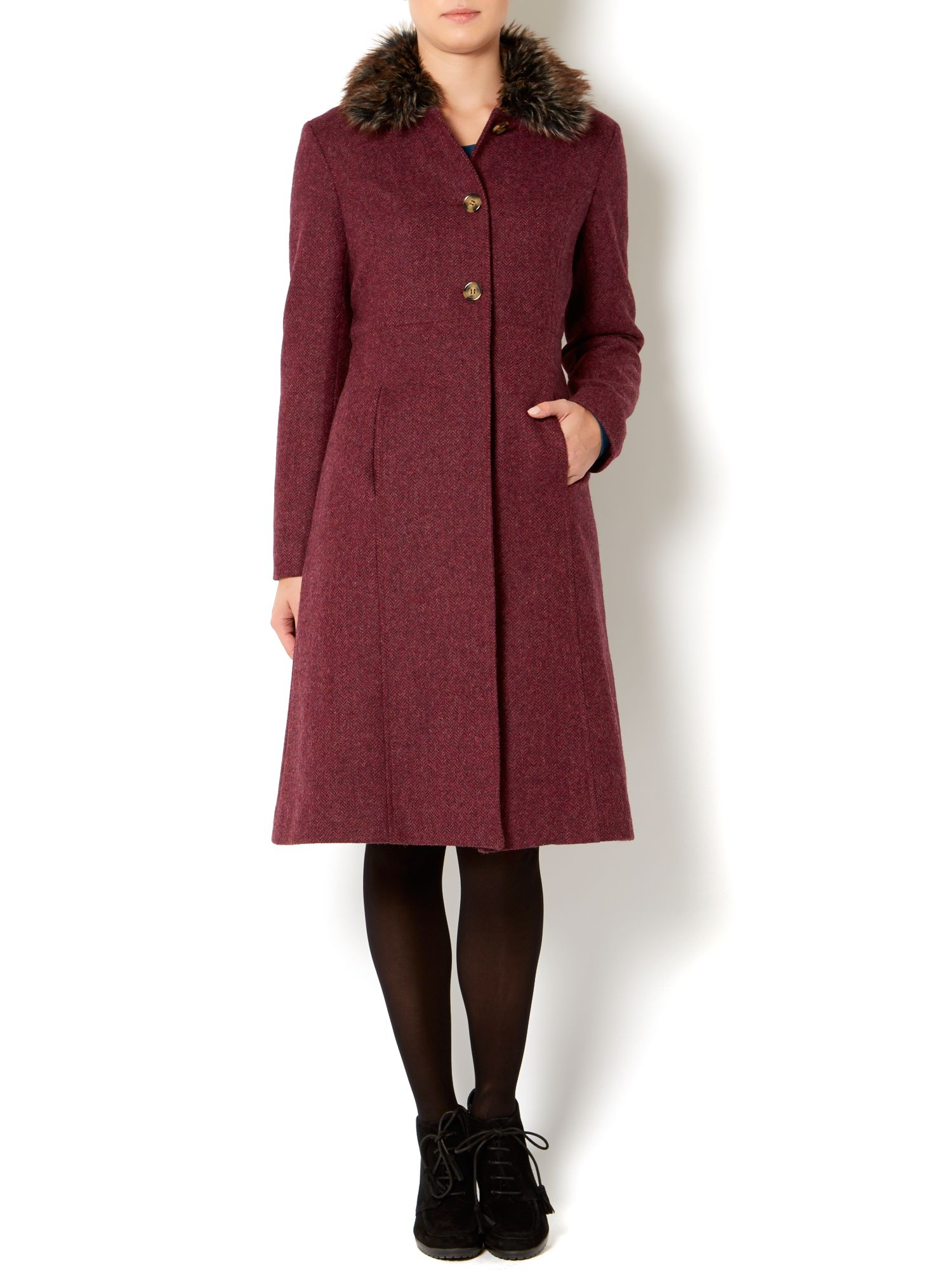Ladies British kensington wool fur princess coat