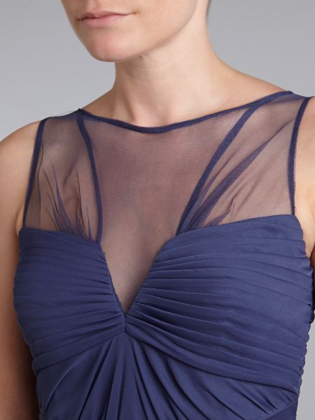 Adrianna Papell Shirred Stretch Tulle Gown
