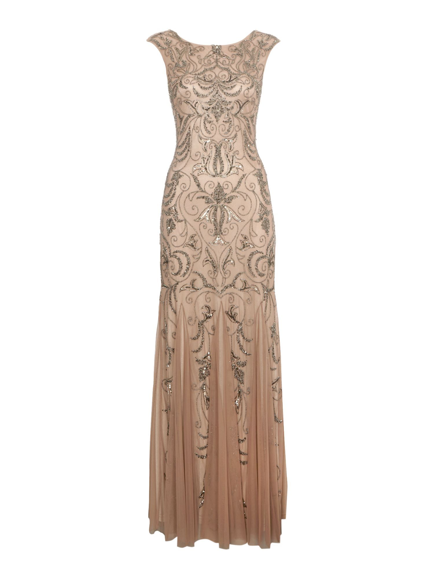 Adrianna Papell Cap sleeve beaded dress $290.00 AT vintagedancer.com