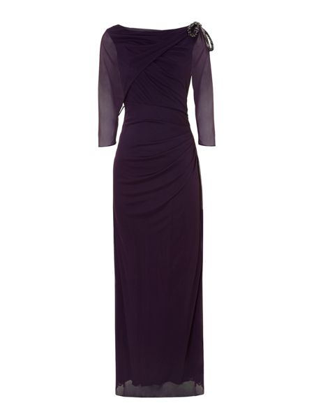 Adrianna Papell Draped shoulder gown