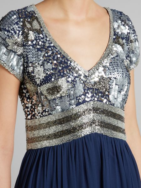 Adrianna Papell Beaded Bodice Full Length Gown